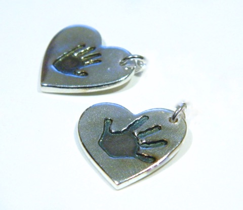 small handprint ink charm