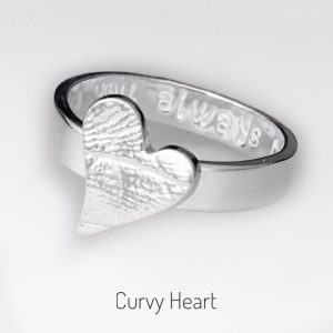 curvy heart fingerprint ring