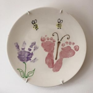 ceramic plates with hand and foot prints