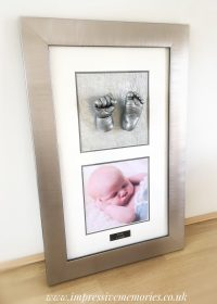 silver framed baby lifecasts baby hand and foot castings glenrothes kirkcaldy fife