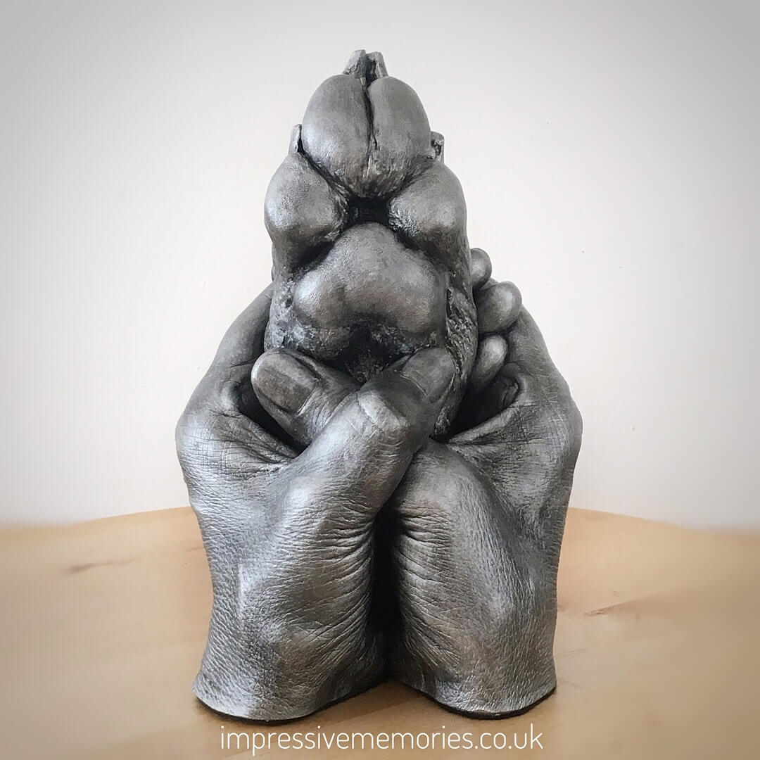 lifecast of adult hands holding cast of dogs paw