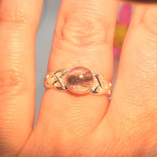 pink celtic ring with sparkles and hair