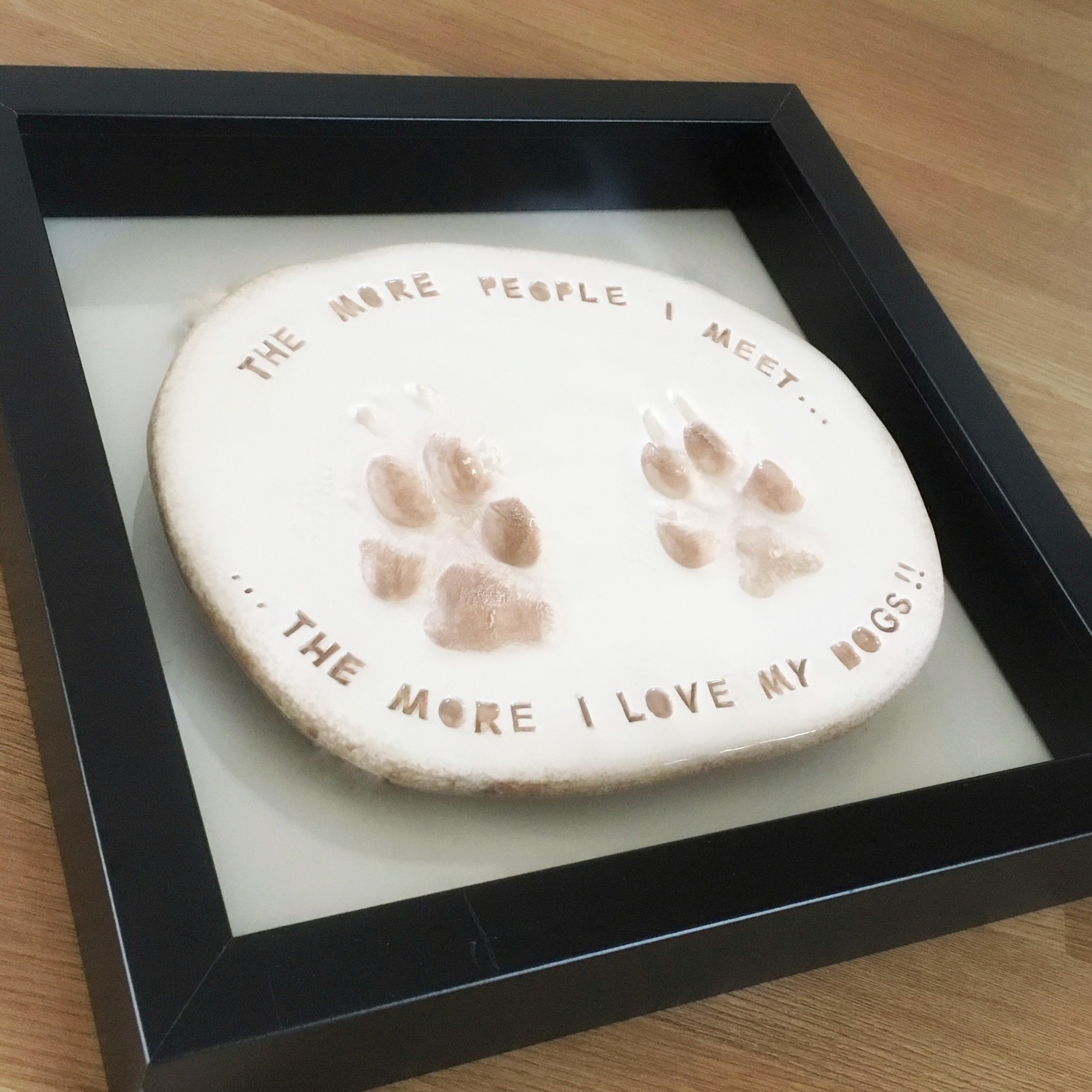 double paw in clay box framed