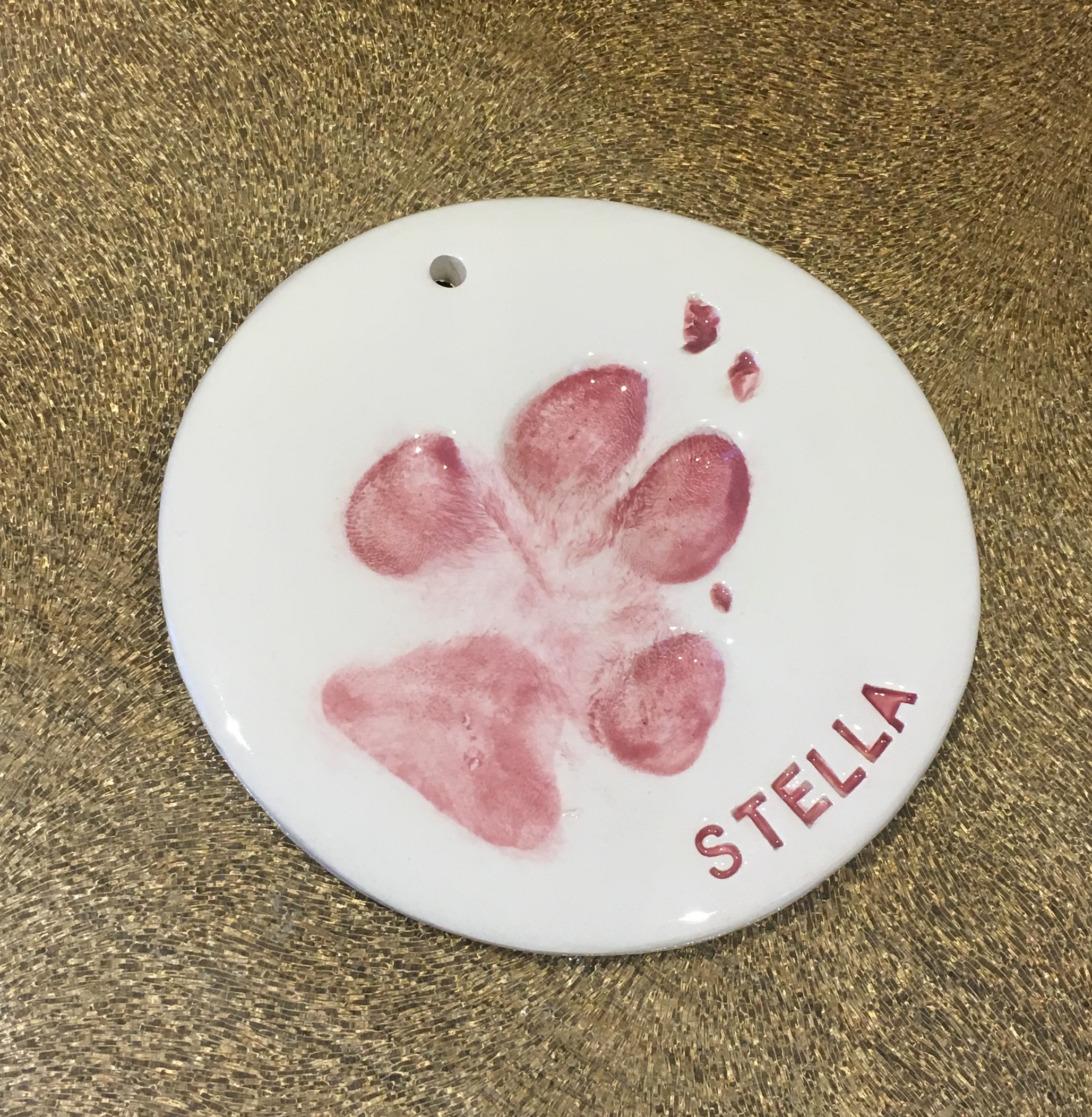 ceramic clay single paw imprint