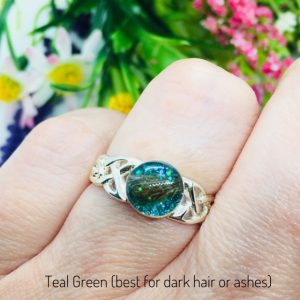 teal green celtic ring with lock of hair