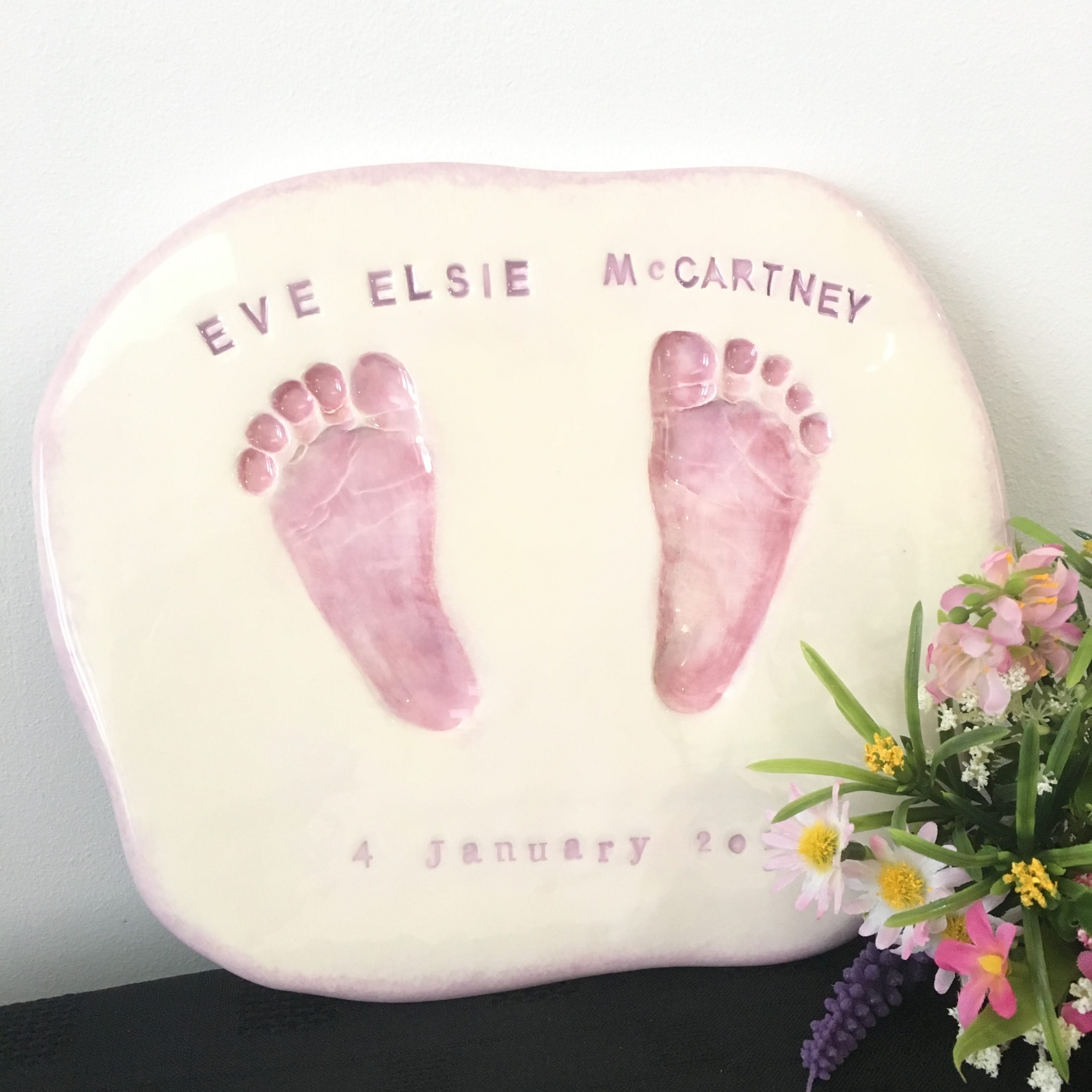 kiln fired clay baby footprint impressions