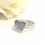 ink print silver ring