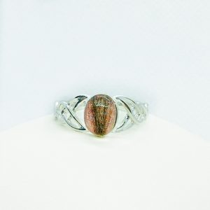 Celtic wide ring silver ashes hair