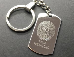 Engraved Fingerprint Dog Tag