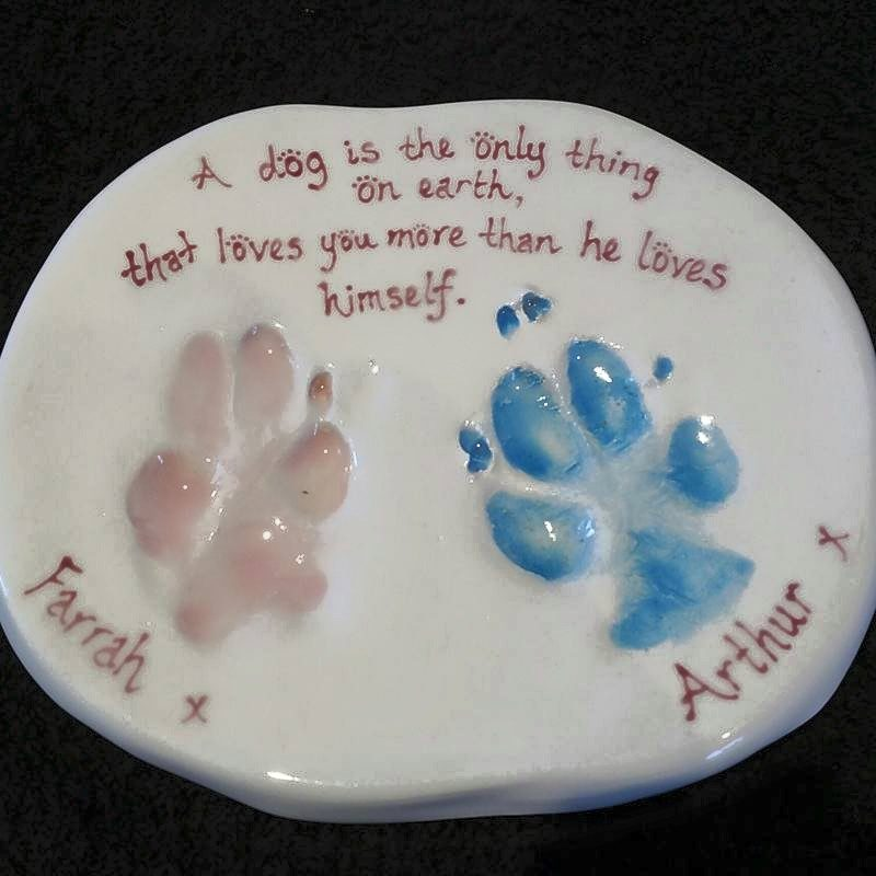 ceramic clay double paw imprint